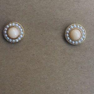 Cute faux pearl peach white gold tone earrings
